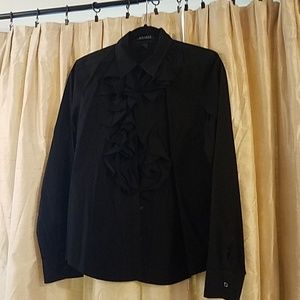 Lauren Ralph Lauren Black Ruffle Long Sleeved